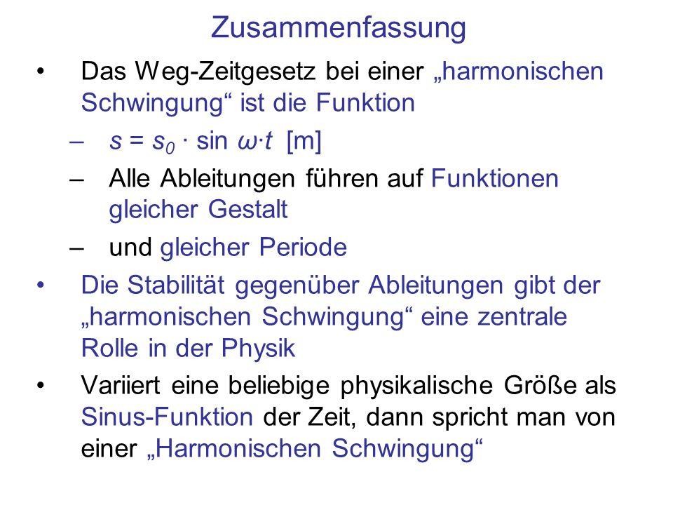 """ZusammenfassungDas Weg-Zeitgesetz bei einer """"harmonischen Schwingung ist die Funktion. s = s0 · sin ω·t [m]"""